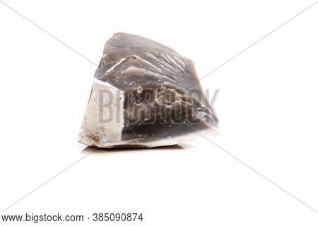 Macro Mineral Stone Flint In The Rock On A White Background