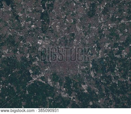 Satellite Map Of Milan Italy, View From Space. Contains Modified Copernicus Sentinel Data