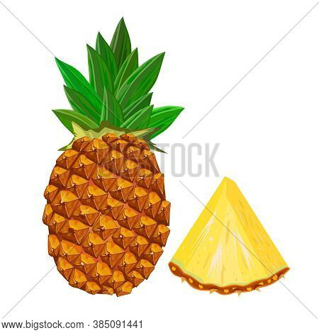 Pineapple Isolated On White Background. Pineapple With Sliced Flesh. Tropical Exotic Fruit Icon. Rea