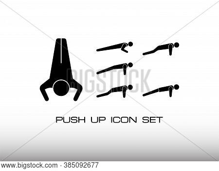 Set Of Push Up Workout Icon In Black Monochrome Style. Consist Of Six Variation Push Up Exercise. In
