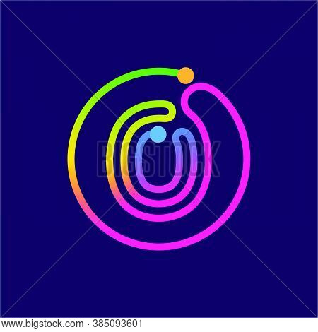 Letter O Logo Made Of Circle Shape Circuit. Multicolor Gradient Vector Design Can Be Used For Techno