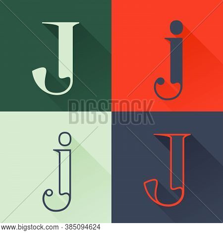 Classic J Letter Logo Set In Renaissance Style. Four Style Condensed Serif Font. Perfect To Use In A