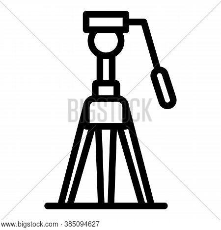 Camera Tripod Icon. Outline Camera Tripod Vector Icon For Web Design Isolated On White Background