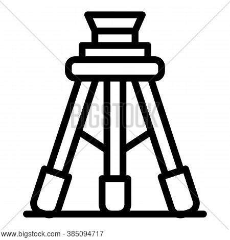 Construction Tripod Icon. Outline Construction Tripod Vector Icon For Web Design Isolated On White B
