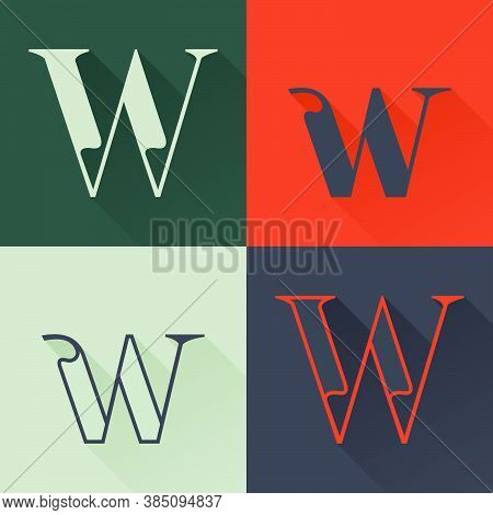 Classic W Letter Logo Set In Renaissance Style. Four Style Condensed Serif Font. Perfect To Use In A