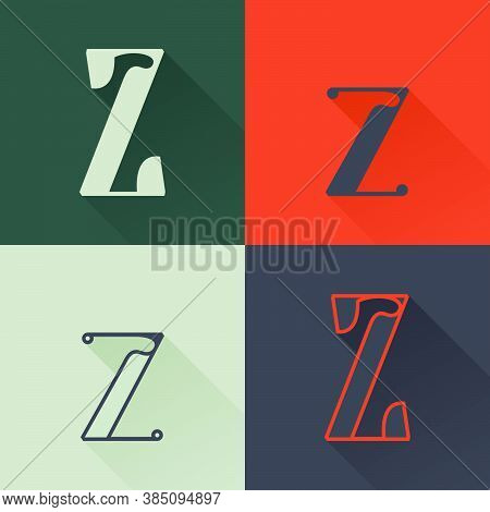 Classic Z Letter Logo Set In Renaissance Style. Four Style Condensed Serif Font. Perfect To Use In A