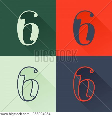 Classic Number Six Logo Set In Renaissance Style. Four Style Condensed Serif Font. Perfect To Use In