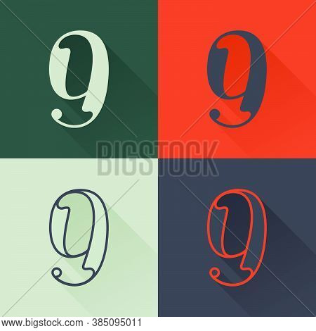 Classic Number Nine Logo Set In Renaissance Style. Four Style Condensed Serif Font. Perfect To Use I