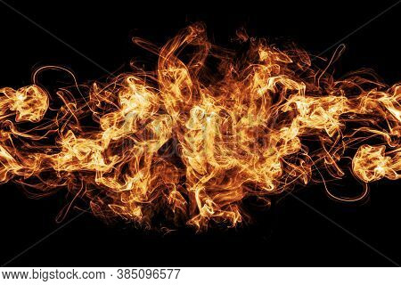 Abstract Blaze Fire Flame Background, Fire On A Black Background