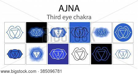 Ajna Icon Set. The Sixth Frontal Chakra. Third Eye. Vector Indigo Blue Gloss And Shine. One Line Sym