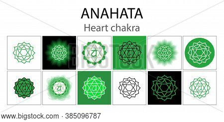 Anahata Icon Set. The Fourth Heart Chakra. Vector Green Gloss And Shine. One Line Symbol. Outline Sa