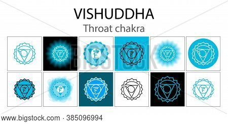 Vishuddha Icon Set. The Fifth Guttural Chakra. Vector Blue Gloss And Shine. One Line Symbol. Outline