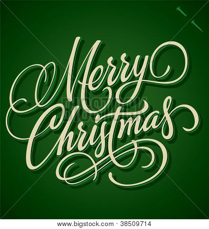 MERRY CHRISTMAS hand lettering (vector)