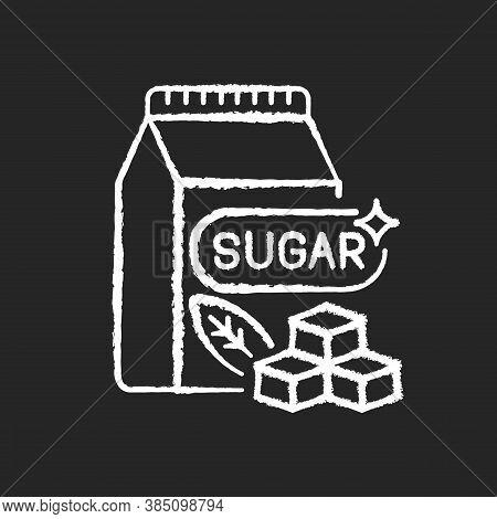 Sugars Chalk White Icon On Black Background. Crystal Cubes. Refined Powder In Packaging. Condiment I