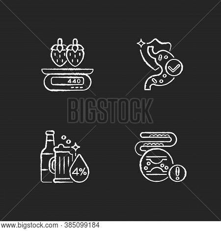 Foodstuff Chalk White Icons Set On Black Background. Cholesterol In Blood Disease. Serving Informati