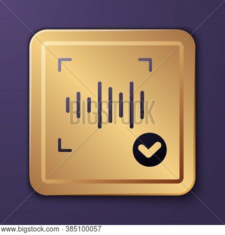 Purple Voice Recognition Icon Isolated On Purple Background. Voice Biometric Access Authentication F