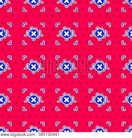 Blue Rejection Voice Recognition Icon Isolated Seamless Pattern On Red Background. Voice Biometric A