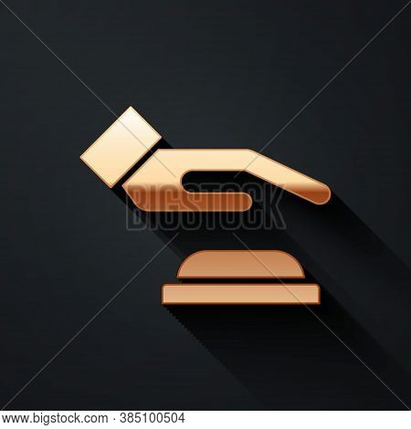 Gold Palm Print Recognition Icon Isolated On Black Background. Biometric Hand Scan. Fingerprint Iden