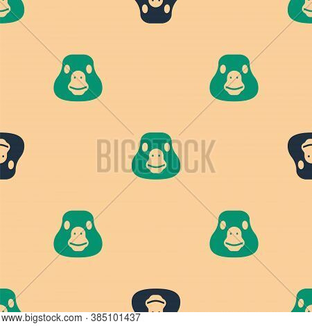 Green And Black Goose Bird Icon Isolated Seamless Pattern On Beige Background. Animal Symbol. Vector