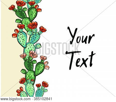Web Banner Template Pattern, Wreath Of Cacti With Flowers, Decorative Exotic Plants  With Text Space