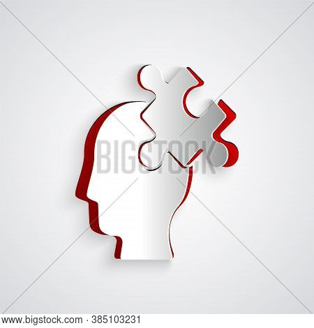 Paper Cut Solution To The Problem In Psychology Icon Isolated On Grey Background. Puzzle. Therapy Fo