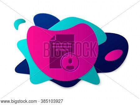 Color Resume Icon Isolated On White Background. Cv Application. Searching Professional Staff. Analyz