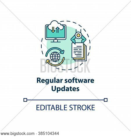 Regular Software Updates Concept Icon. Security Holes Repairing Idea Thin Line Illustration. Compute