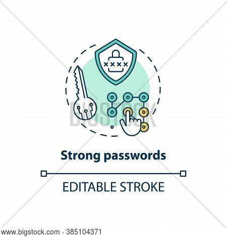 Strong Passwords Concept Icon. Databases Securing Idea Thin Line Illustration. Hardest Remember Pass