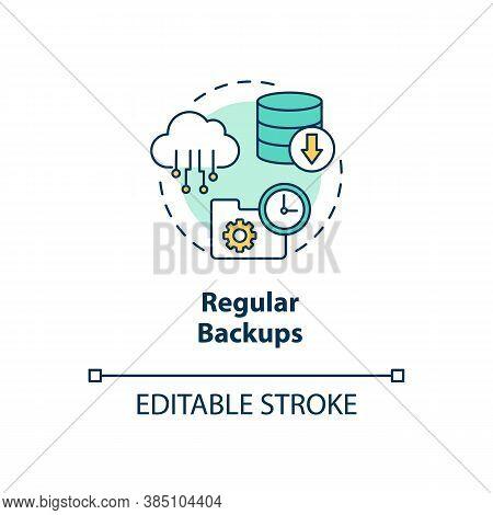 Regular Backups Concept Icon. Cloud Backup Service Idea Thin Line Illustration. Restore Lost Data Ev
