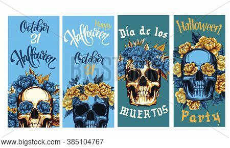 Halloween Party Banner, Metal Skull With  Floral Golden Roses Wreath, Vector Illustration Of Day Of