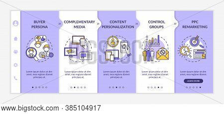 Social Media Marketing Onboarding Vector Template. Buyer Persona, Content Personalization, Control G
