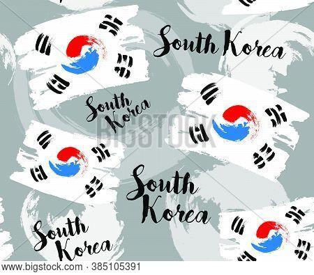 South Korea Flag With Brush Stroke Background, Poster, Vector Illustration, Traditional Korean Style
