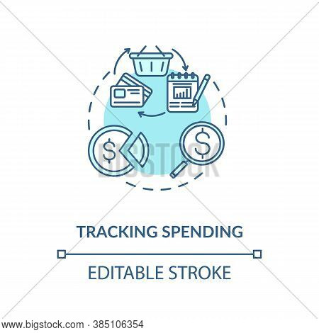 Tracking Spending Concept Icon. Inteligent Money Manangement. Budget Saving Tip. Finance Literacy Id
