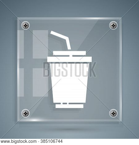 White Paper Glass With Drinking Straw And Water Icon Isolated On Grey Background. Soda Drink Glass.