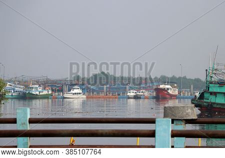 Jakarta, Indonesia May 6, 2019: Fishing Boats Moored In The Port Harbor, Indonesia Fishing Boat Dock