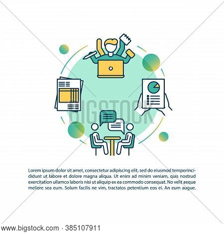 Multitasking Banking Employee Concept Icon With Text. Financial Broker Advice. Ppt Page Vector Templ