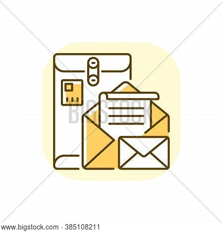 Postbox Yellow Rgb Color Icon. Personal Mailbox, Postal Service. Old Fashioned Correspondence. Metal