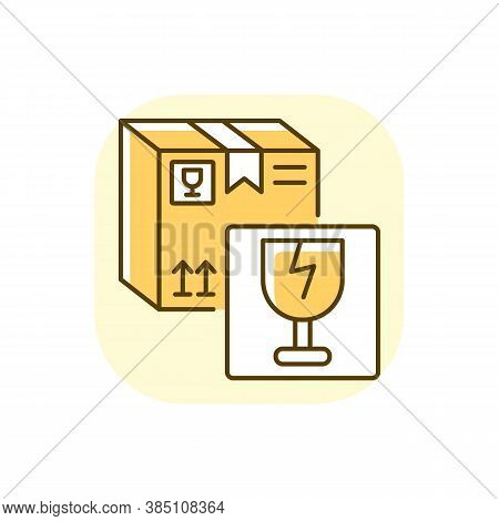 Fragile Items Yellow Rgb Color Icon. Breakable Box Content. Postal Service. Parcel With Warning Sign