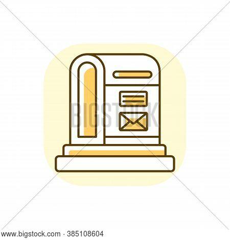 Parcel Post Yellow Rgb Color Icon. Public Postal Service. Mail Transportation Business. Street Postb