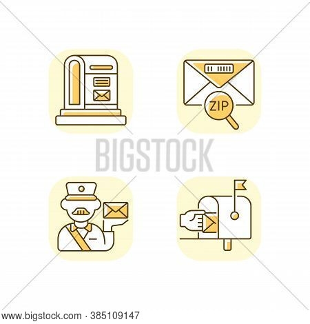Courier Delivery Yellow Rgb Color Icons Set. Professional Mailman, Letter Zip Code, Parcel Post And