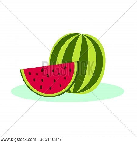 Vector Isolated Watermelon Icon In Flat Style. A Whole Striped Watermelon And A Bright Red Slice. Wa