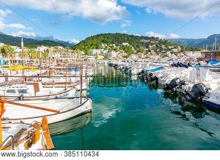 Mallorca, Spain - September 2018: Boats In Port Soller Marine