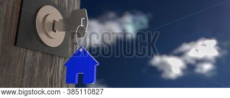House Model And Key In House Door. Real Estate Agent Offer House, Property Insurance And Security, A
