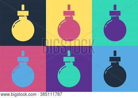 Pop Art Bomb Ready To Explode Icon Isolated On Color Background. Happy Halloween Party. Vector