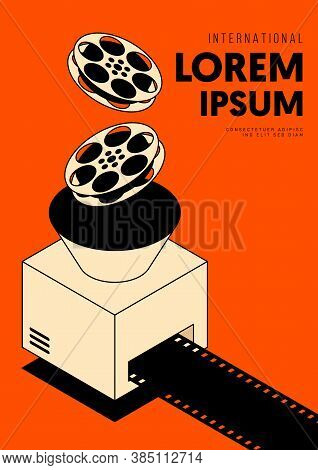 Movie And Film Poster Design Template Background With Vintage Film Reel. Graphic Design Element Can