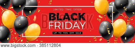 Black Friday Sale Banner With Glossy Balloons, Confetti And Frame. Design For Blackfriday Sale. Real