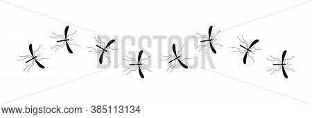 Line Of Flying Mosquito Vector Illustration Isolated On White