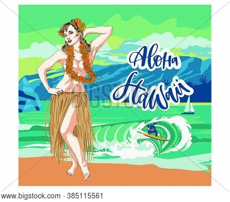 Concept Of Retro Woman Woman Dancing In Hawaiian Dress.