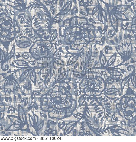 Seamless French Farmhouse Linen Printed Floral Damask Background. Provence Blue Gray Linen Pattern T