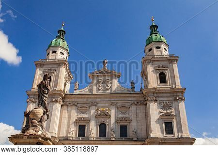 The Salzburg Cathedral. The Salzburger Dom Is The 17-th Century Baroque Roman Catholic Church.